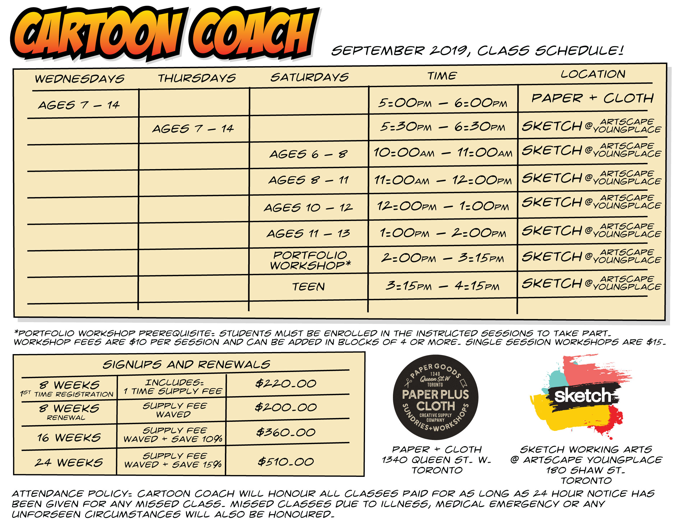 Cartoon Coach Schedule 2020